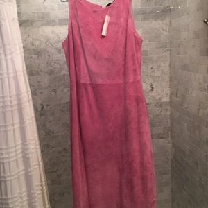 Pink suede midi dress